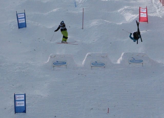 The system has to be clear. In dual moguls each skier has his/her own lane, jumps are at given distance and size. Scoring is based on speed, style and jumps. Here Junior Worldchampionships 2011, Isabella on the left.